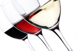Three glass of wine over white background